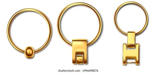 Holder trinket isolated on white background. Reallistic template metal keychain set. Trinket keyring, keyholder and breloque illustration.
