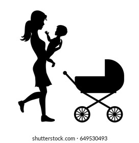 Holding baby silhouettes with pram isolated black vector illustr
