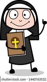 Holding a Bible Book - Cartoon Nun Lady Vector Illustration