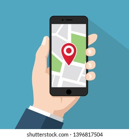 Holding black digital smartphone with map & marker in hand, flat design mobile gps navigation & tracking graphic illustration vector for ads app web banner ui ux interface isolated on blue background