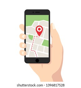 Holding black digital smartphone with map & marker in hand, flat design mobile gps navigation & tracking graphic illustration vector for app ads web banner ui ux interface isolated on white background