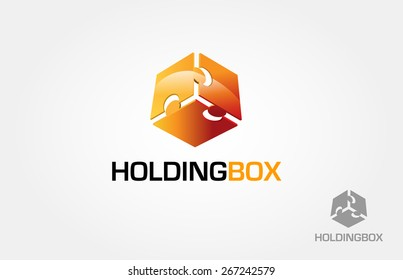 Holding Box Vector Logo Template. This is a box made from three puzzle, this logo symbolize a unity, togetherness, group, some things that strength inseparable from each other, holding each other.