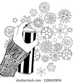 Holding a Can of Spray Paint.  Winter Christmas snowflakes. Black and white. Doodle style. Xmas Adult Coloring book page.