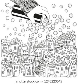 Holding a Can of Spray Paint.  Winter Christmas pattern with houses and snow. Magic City, landscape. Black and white. Doodle style. Xmas Adult Coloring book page.
