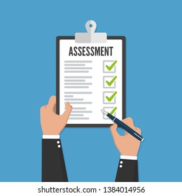 Holding clipboard checklist with assessment flat icon