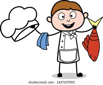 Holding a Fish - Cartoon Waiter Male Chef Vector Illustration