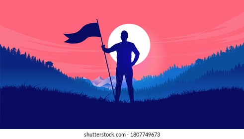 Holding flag in front of red sky - Man standing in landscape with raised flag ready to take on any challenge. The will to fight, pride and competition concept. Vector illustration.