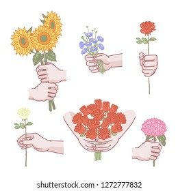 holding flowers hands male set. man hand holding Flower bouquet. Meaning of showing love. Various,different gestures, rose, daisy, sunflower, hydrangea. illustrations vector design of hand drawn.