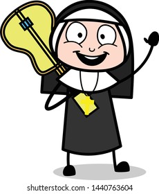 Holding a Guitar and Gesturing with Hand - Cartoon Nun Lady Vector Illustration