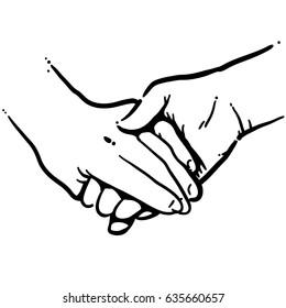 holding hand, black and white vector illustration
