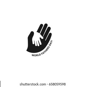 Holding Hand of a child in the hand of an adult vector logo. World Father Day. Symbol of care, kindness, family, children, parents