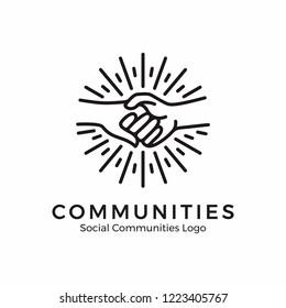 Holding hand logo. Community logo