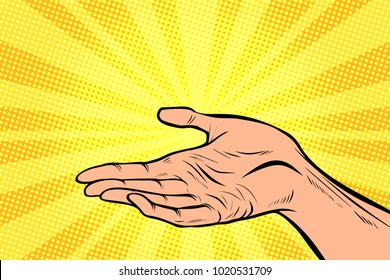 holding in hand, presentation gesture. Pop art retro comic book vector cartoon hand drawn illustration