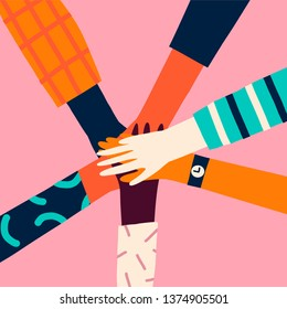 Holding hands circle, 8 of march women power concept. Give five teamwork card or poster.