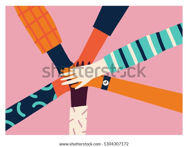Holding hands circle, 8 of march women power concept. Teamwork card or poster.
