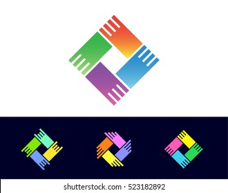 Holding Hands is a creative vector logotype concept for business, media, educational or social company. Shake palms sign.