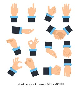 Holding hands in different action poses. Grabbing, taking and other. Vector pictures in flat style