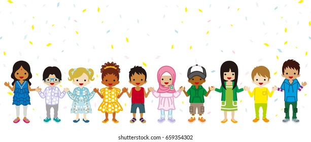Holding hands Multi Ethnic children in confetti background, stand in a line