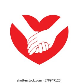 Holding hands on red heart. icon design in flat style. concept  of supporting, vector illustration.