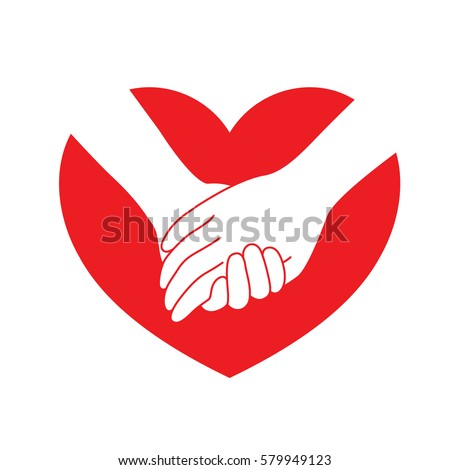 Holding Hands On Red Heart Icon Stockvector Rechtenvrij 579949123