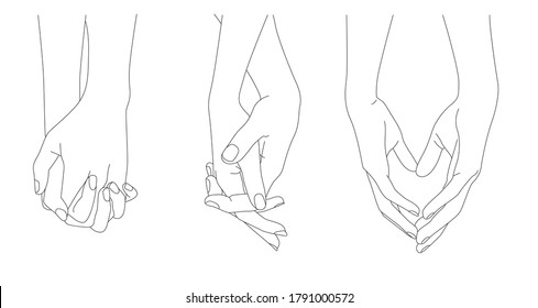 Holding Hands, Outline Drawing, Hand Holding together, Concept romance supports love