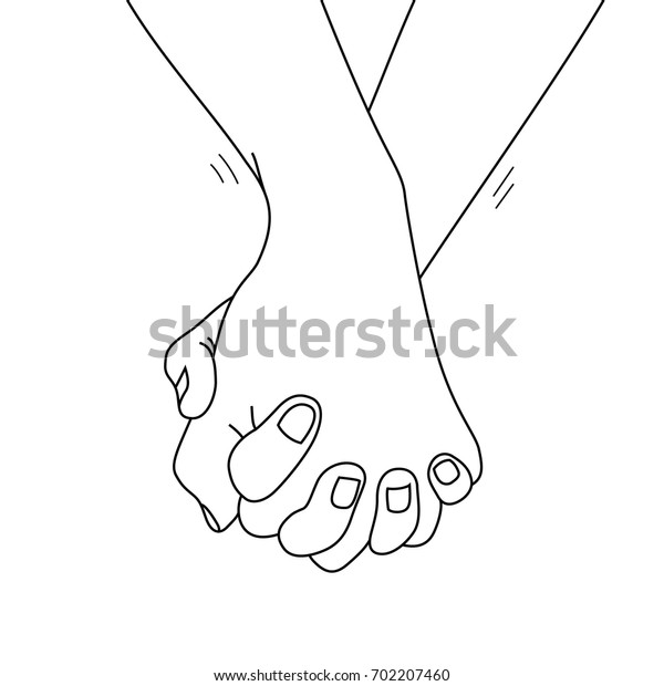 Holding hands outline. vector illustration doodles hand drawn, female and male person holding hands. concept of supporting, you and me together.