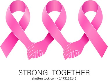 Holding hands in pink ribbon. Breast Cancer Awareness Month Campaign. Icon design for poster, banner, t-shirt. Illustration isolated on white background.