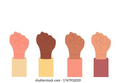 Holding hands in protest raised up. Black lives matter. Equality, freedom. Human rights. Rebel environment manifestation