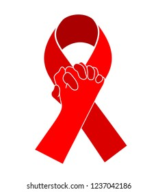 Holding hands in Red ribbon. World AIDS Day. Aids Awareness icon design for poster, banner, t-shirt. Vector illustration isolated on white background.