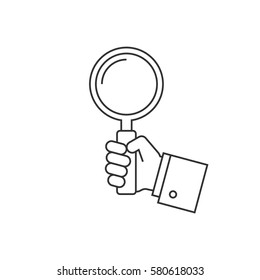 Holding magnifying glass line icon
