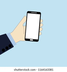 Holding a Phone in Businessman hand on blue background.