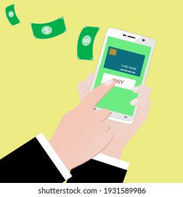 Holding phone for communication and paying online .