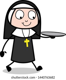 Holding Plate - Cartoon Nun Lady Vector Illustration