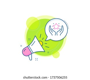 Holding star sign. Megaphone promotion complex icon. Ranking line icon. Best rank symbol. Business marketing banner. Ranking sign. Vector