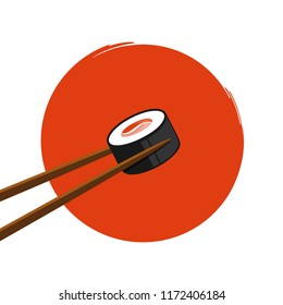 holding sushi with salmon with chopsticks on an orange background vector illustration EPS10