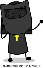 Holding a Welding Shield - Cartoon Nun Lady Vector Illustration