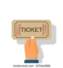 Holds tickets in hand, isolated on white background. Man shows gives buy a ticket. Vector illustration flat style design. Coupon on concert. Access entertainment, cinema, theater. Pass permission.