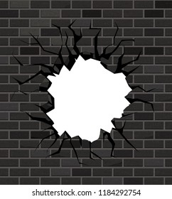 The hole in the brick wall of black bricks. Vector design.