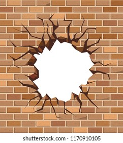 The hole in the brick wall of brown bricks. Vector design.