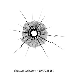 Hole from a bullet in a thick glass vector illustration.