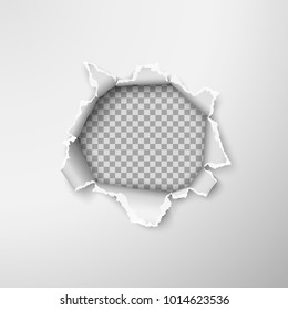Hole in empty paper sheet. Rough torn paper edges. Vector illustration on transparent background