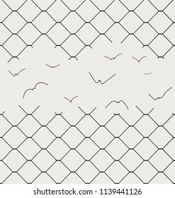the hole in the fence turning into birds. Seamless pattern