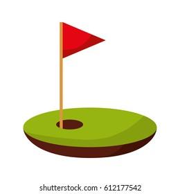 hole golf with flag vector illustration design