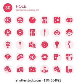 hole icon set. Collection of 30 filled hole icons included Donut, Cheese, Sharpener, Doughnut, Auger, Birdhouse, Golf ball, Sharpen, Drill, Golf