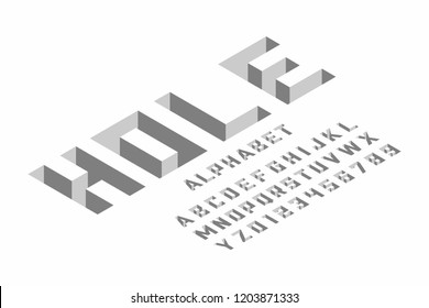 Hole - isometric 3d font design, three-dimensional alphabet letters and numbers vector illustration