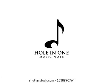 Hole in one music note. Unique logo combining golf ball and music note with using negative space on note as hole.