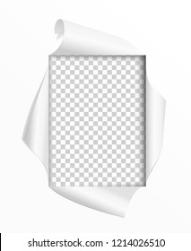 Hole in paper isolated on white background. Square frame. Frame with different curved edges of paper. Design element poster, banner, invitation, booklet. Vector