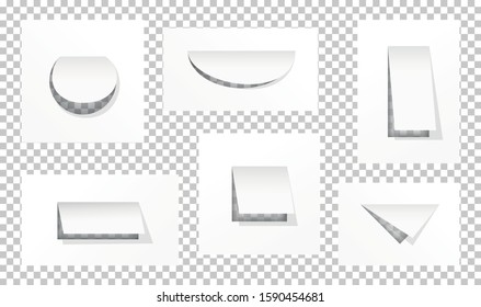 Hole in paper isolated on white background.  Set  holes  various shapes. Cut part of square, circle and triangle.  Design element poster, banner, invitation, booklet. Vector illustration