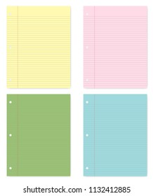 Hole punched colored filler paper sheets with margin, vector mockup. Lined letter format writing pads for 3 ring binder isolated on white background, template