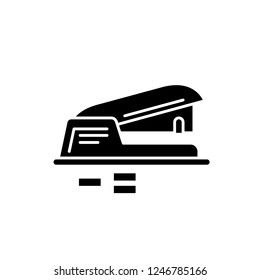 Hole puncher black icon, vector sign on isolated background. Hole puncher concept symbol, illustration
